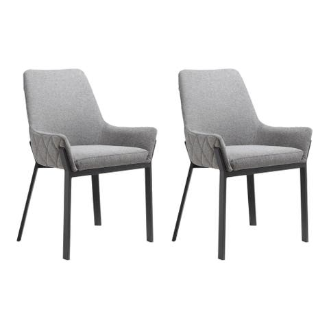 Aurelle Home Marselle Grey Sleek Modern Dining Chairs (Set of 2)