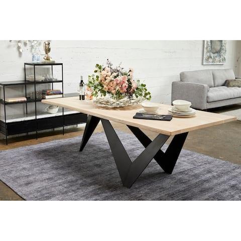 "Aurelle Home Alivia Live Edge Oak Top Modern Dining Table - Black - 30"" x 88"" x 38"""