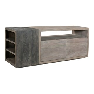 Aurelle Home Acacia Wood Contemporary Storage Media Cabinet