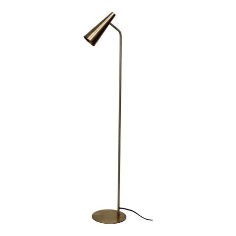 Aurelle Home Brass Industrial Trumpet Floor Lamp