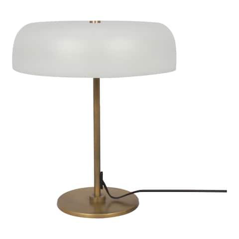 Aurelle Home White Glass Shade Mid-Century Modern Table Lamp