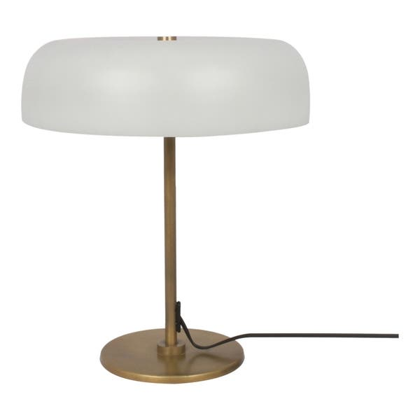 Aurelle Home White Gl Shade Mid Century Modern Table Lamp