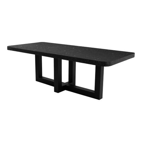 Aurelle Home Dark Brown Terrazzo and Iron Contemporary Dining Table
