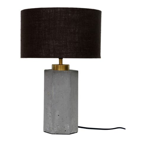 Aurelle Home Light Grey Concrete and Brass Industrial Table Lamp