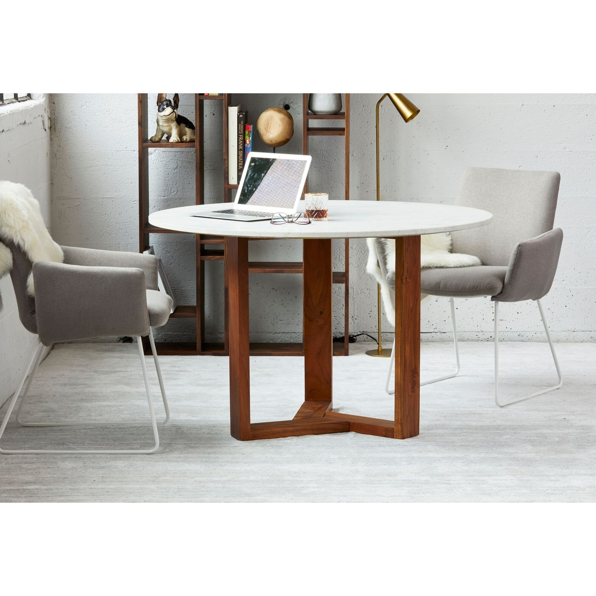 Aurelle Home Italian Marble Round Dining Table White On Sale Overstock 26041275