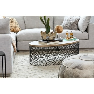 "Aurelle Home Coco Solid Wood and Metal Contemporary Coffee Table - 15"" x 48"" x 28"""