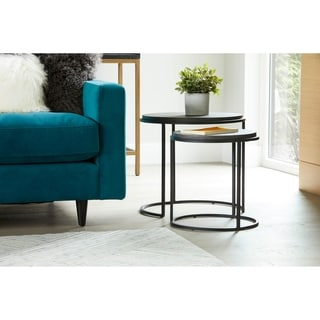 Aurelle Home Contemporary Lava Stone and Iron Nesting Tables