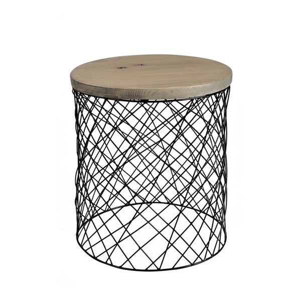 "Aurelle Home Coco Solid Wood and Metal Contemporary Side Table - 20"" x 18"" x 18"""