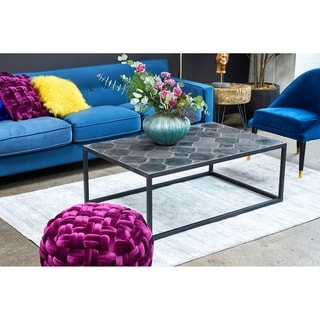 Aurelle Home Tiled Lava Stone Contemporary Coffee Table