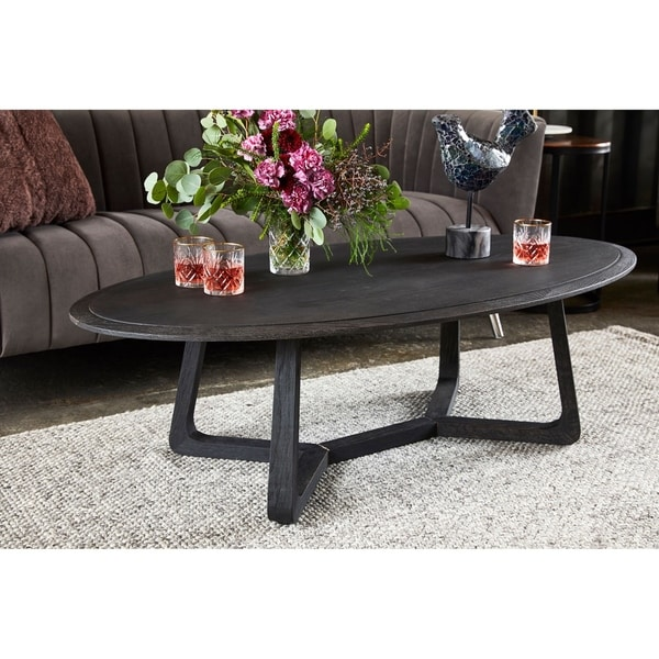 Aurelle Home Napa Solid Oak Modern Coffee Table