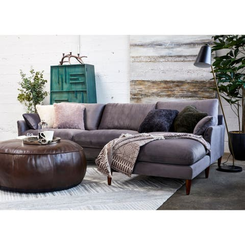 Aurelle Home Camille Velvet Deep Cushion Sectional Sofa
