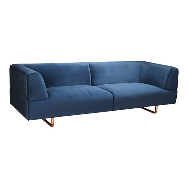 Shop Aurelle Home Blue Clean Line Contemporary Modern Sofa ...