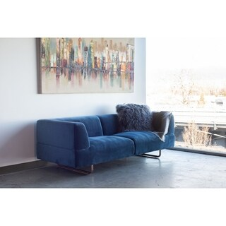 Aurelle Home Blue Clean Line Contemporary Modern Sofa