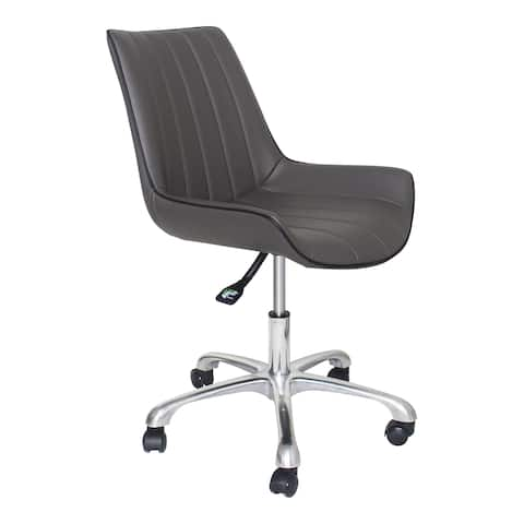 Aurelle Home Gunmetal Faux Leather Swivel Office Chair