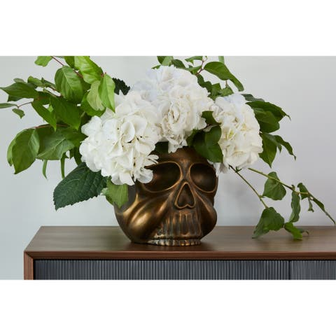 Aurelle Home Antique Brass Whimsical Contemporary Skull Planter