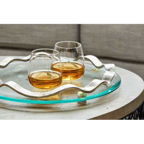 Aurelle Home Nickel Large Round Glass Glam Serving Platter