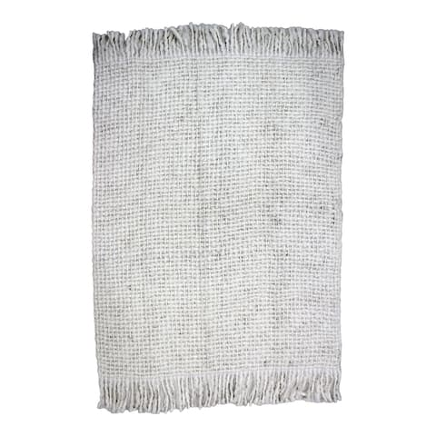 Aurelle Home White Heavy Weave Transitional Throw Blanket