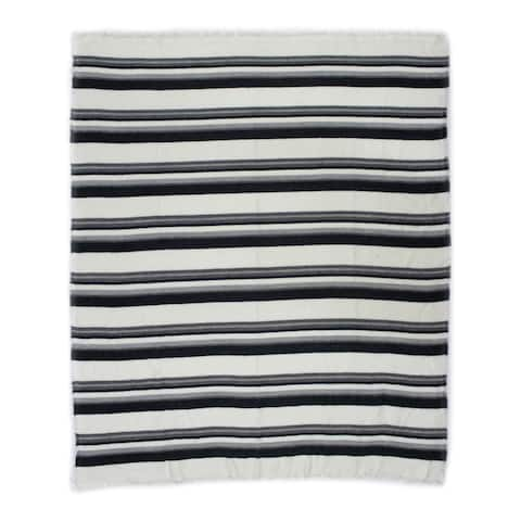 Aurelle Home Blue Soft and Durable Transitional Throw Blanket