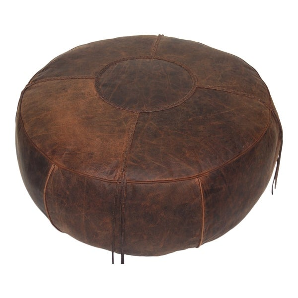 Shop Aurelle Home Two Tone Leather Rustic Ottoman On