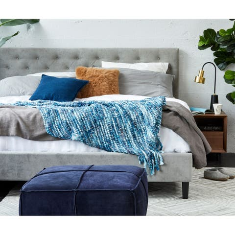 Aurelle Home Blue Soft Unique Transitional Throw Blanket