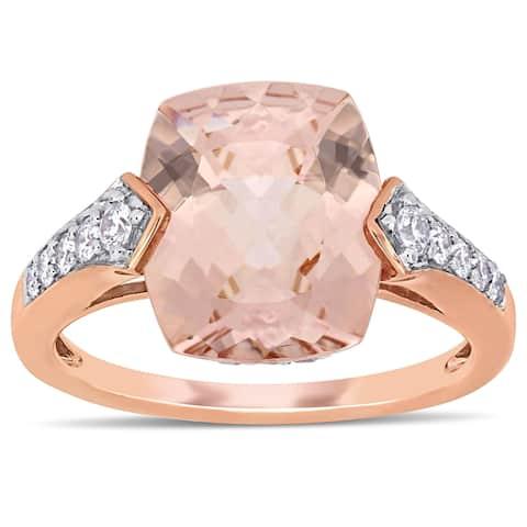 Miadora 14k Rose Gold Morganite White Sapphire and 1/4ct TDW Diamond Engagement Ring