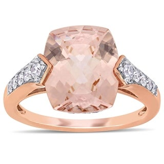 Miadora 14k Rose Gold Morganite White Sapphire And 1 4ct TDW Diamond Engagement Ring