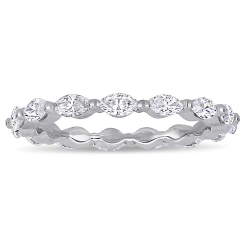 Miadora 14k White Gold 1ct TDW Diamond Marquise Infinity Full-Eternity Band Ring
