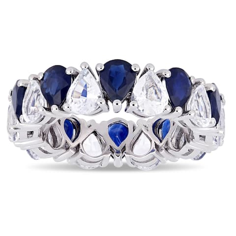 Miadora 14k White Gold Pear-Cut Blue and White Sapphire Eternity Band Ring