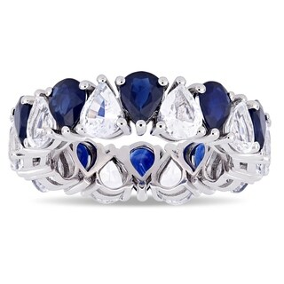 Miadora 14k White Gold Pear-Cut Blue and White Sapphire Full-Eternity Band Ring