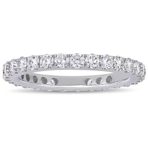 Miadora 14k White Gold 1 1/6ct TDW Diamond Full-Eternity Band Ring