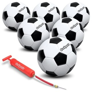GoSports Classic Soccer Ball 6 Pack - Size 5 - with Premium Pump and Carrying Bag