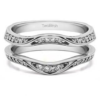 0 44 Ct Contour Silver Moissanite Ring Guard Enhancer Wedding Band
