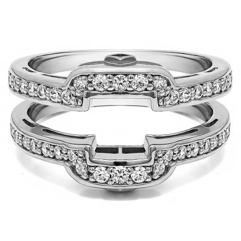 .50 Ct. Square Halo Peek-a-Boo Wedding Silver Moissanite Ring Guard