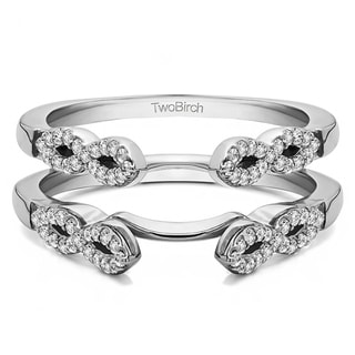 0 38 CT Silver Moissanite Infinity Ring Guard Enhancer