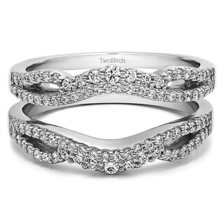 0 57 CT Silver Moissanite Double Infinity Wedding Ring Guard