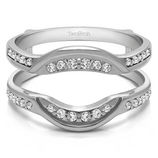 0 22 CT Silver Moissanite Contoured Bridal Wedding Ring Guard