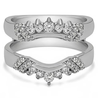 0 51 CT Silver Moissanite Double Shared Prong Curved Ring Guard