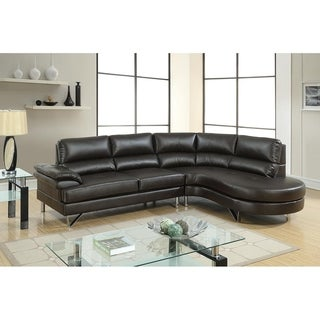 Bobkona Cleo Breathable Leatherette 2-Piece Right Facing Chaise and Left Facing Sofa Sectional Set