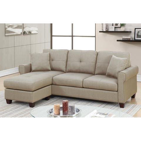Bobkona Ira Glossy Polyfiber Reversible Sectional Sofa with 2 Accent Pillows