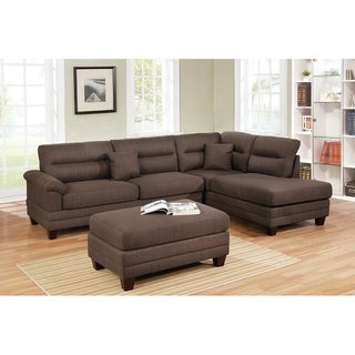 Link to Bobkona Tyne Linen-Like Fabric Polyfiber 3-Piece Sectional set with Cocktail Ottoman Similar Items in Living Room Furniture