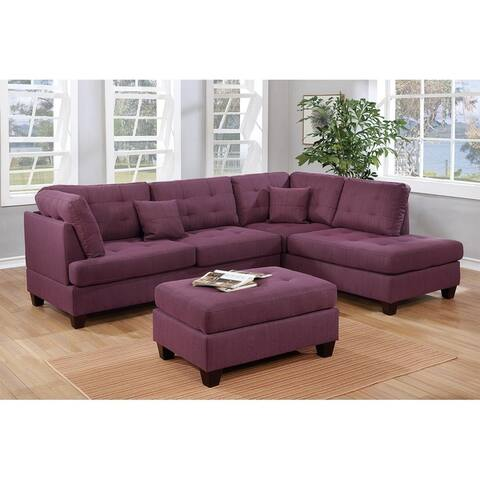 Copper Grove Castres 3-piece Polyfiber Sectional Set with Cocktail Ottoman