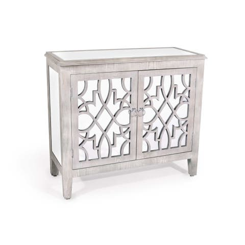 Silver Orchid Barker Antiqued Mirrored Cabinet
