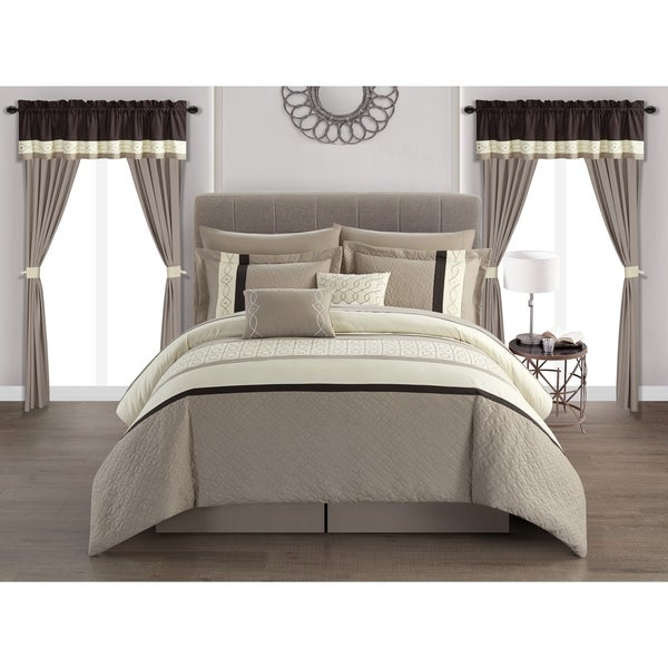 Chic Home Mykie 20 Piece Comforter Set Color Block Embroidered - Beige