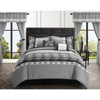 Chic Home Sevrin 20 Piece Comforter Set Color Block Embroidered
