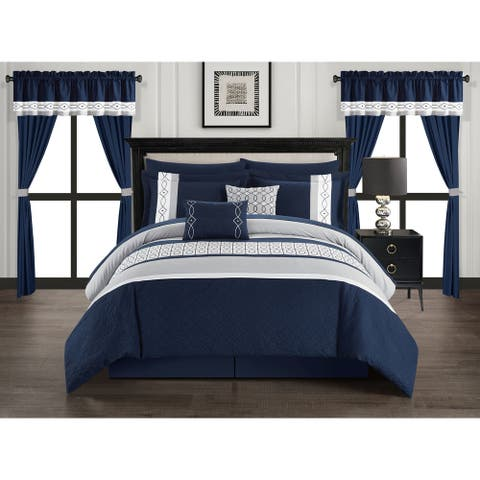 Chic Home Mykie 20 Piece Comforter Set Color Block Embroidered