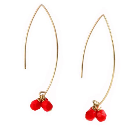Sonia Hou Angel Red Cherries 14K Gold Filled Thread Drop Dangle Earrings