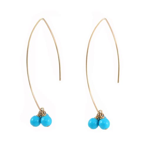 Sonia Hou Angel Turquoise Blue 14K Gold Filled Thread Drop Dangle Earrings