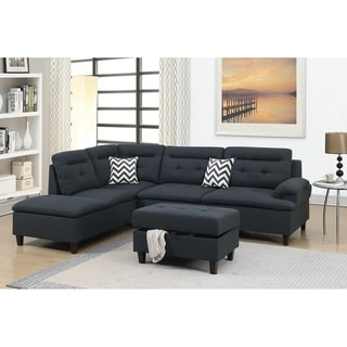 Link to Bobkona Zane Linen-Like Fabric Polyfiber 3-Piece Sectional set with Cocktail Ottoman Similar Items in Living Room Furniture