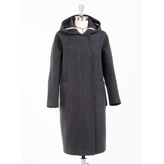 Women's Gray Hooded Wide Pocket Wool Blend Coat