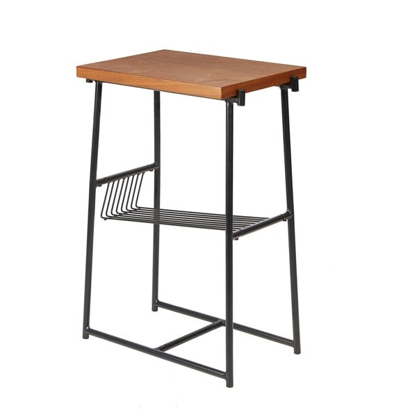 Alden Black/Gold Metal/Wood Accent Table with Wire Magazine Rack